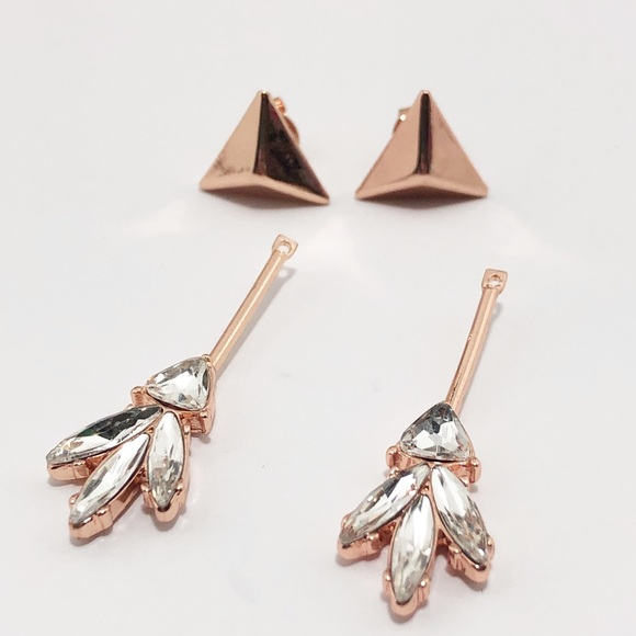 2646683b 3/$19 Rose Gold Triangle Stone 2 for 1 Earring Set Boutique
